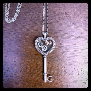 Pandora Floating Key Heart Locket Necklace